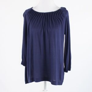 Navy blue J. CREW knit blouse S